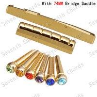 A Set guitar accessories Guitar Nut 72MM Bridge Saddle + Brass Bridge for Acoustic Guitar parts Musical instrument