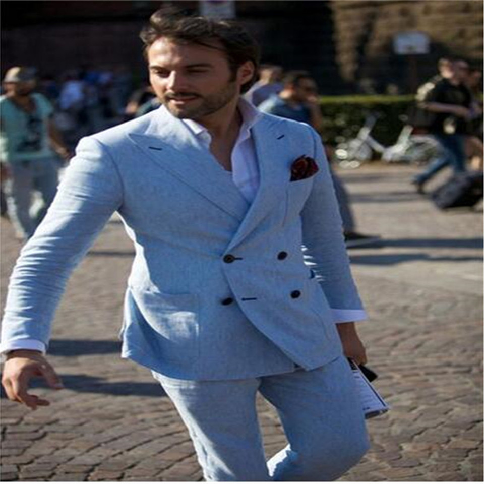 New Men's Suit Smolking Noivo Terno Slim Fit Easculino Evening Suits For Men Tuxedos Summer Light Blue Beach Blazers Groom