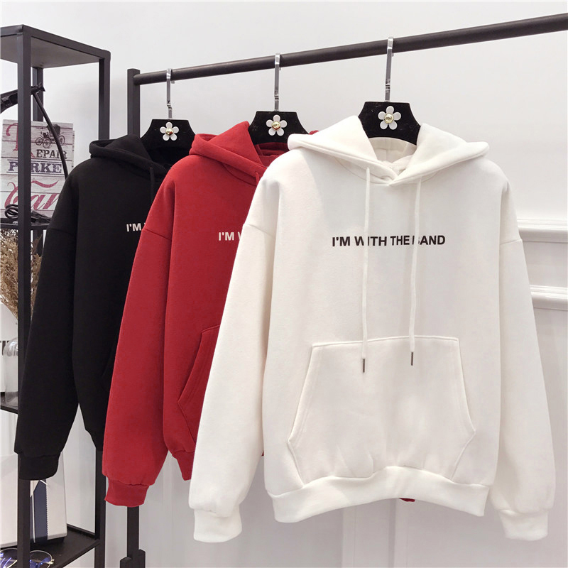 Zulunouba Female Winter Clothing Fleece Hooded Neck Solid Soft Pocket Pullovers Women Hoodies White Sweatshirt Loose Coat