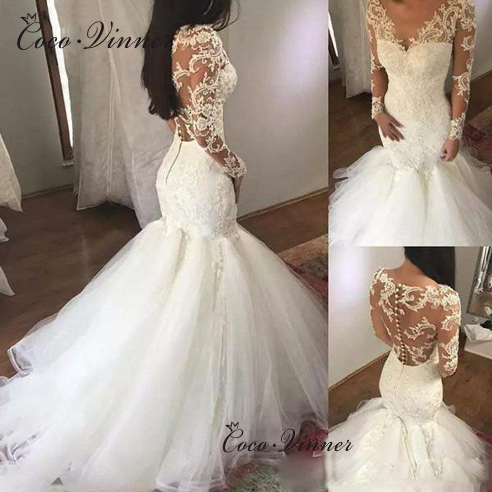 Appliques Bright Sequined Long Sleeves Embroidered Lace On Net Illsuion Mermaid Wedding Dresses Button Tulle Train  W0579