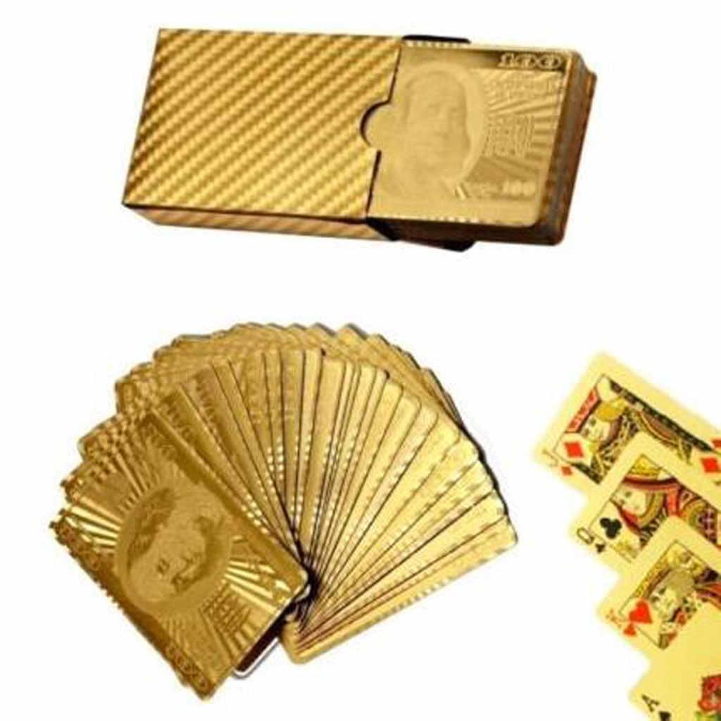 Kreative Spielkarten Mit $100 Währung Muster Gold Überzogene Weihnachten Geschenk