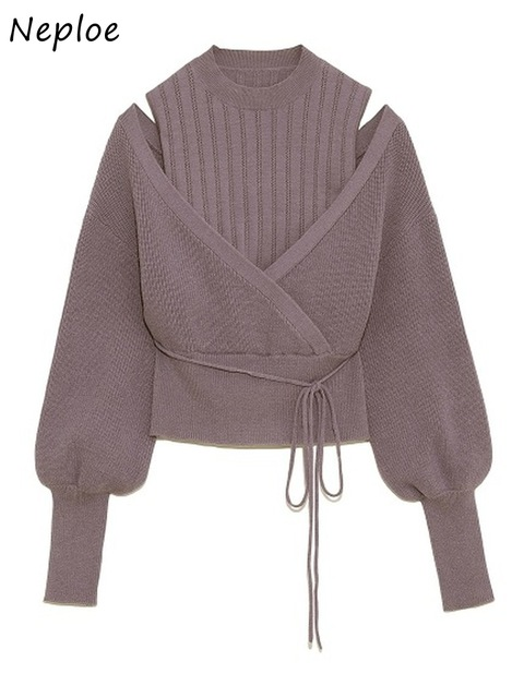 Neploe Turtleneck Drawstring Puff Sleeve Knitted Sweaters Sweet Loose Shoulder Strapless Women Tops  Autumn Winter New Pullovers 1