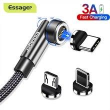 Essager 3A Schnelle Lade Magnetische Kabel 540 Drehen Magnet Ladegerät Für iPhone Xiaomi Handy Micro USB Typ C Daten draht Kabel