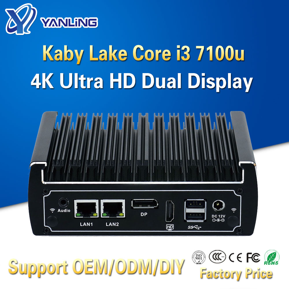 Yanling Fanless Mini Pc Intel Core I3 7100u CPU Dual Ethernet Lan Nano Itx Desktop Computer Support M.2 Port 6 USB3.0 2 COM 12V