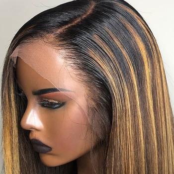 13 #215 6 przezroczyste koronki przodu włosów ludzkich peruk dla kobiet wyróżnij peruka krótki Remi miód blond bob peruka darmowa wysyłka do brazylii tanie i dobre opinie Humble Mountain Średni Proste Koronki przodu peruk Remy włosy Ludzki włos Pół maszyny wykonane i pół ręcznie wiązanej