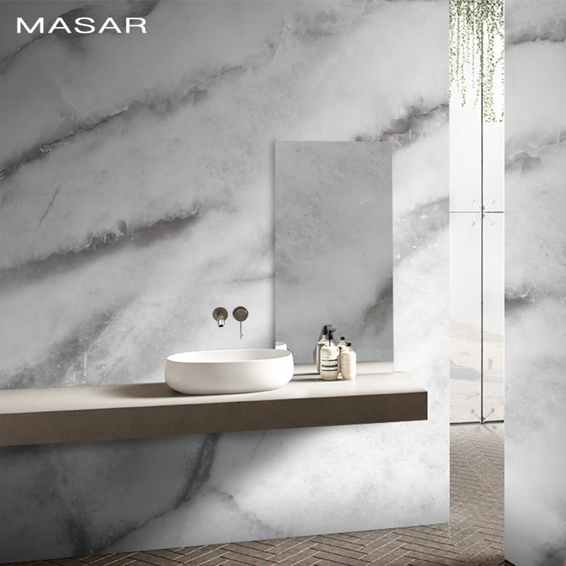 MASAR Imitation Marble Texture White Custom Mural Bathroom Vinyl Wallpaper Living Room Dining Room Background Wall Paper Marble