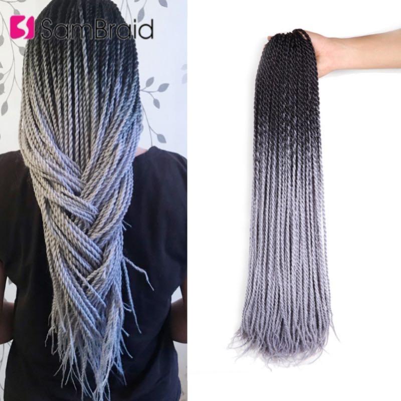 SAMBRAID Senegalese Twist włosy szydełkowane syntetyczne warkoczyki z włosów przedłużanie 24 Cal 30 korzeni/opakowanie Afro szydełka włosy typu Ombre