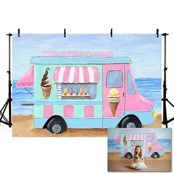 Mehofond Ice Cream Truck Backdrop Painted Sea Beach Baby Birthday Portrait Photography Backgrounds for Photo Studio Photophone - discount item  43% OFF Camera & Photo