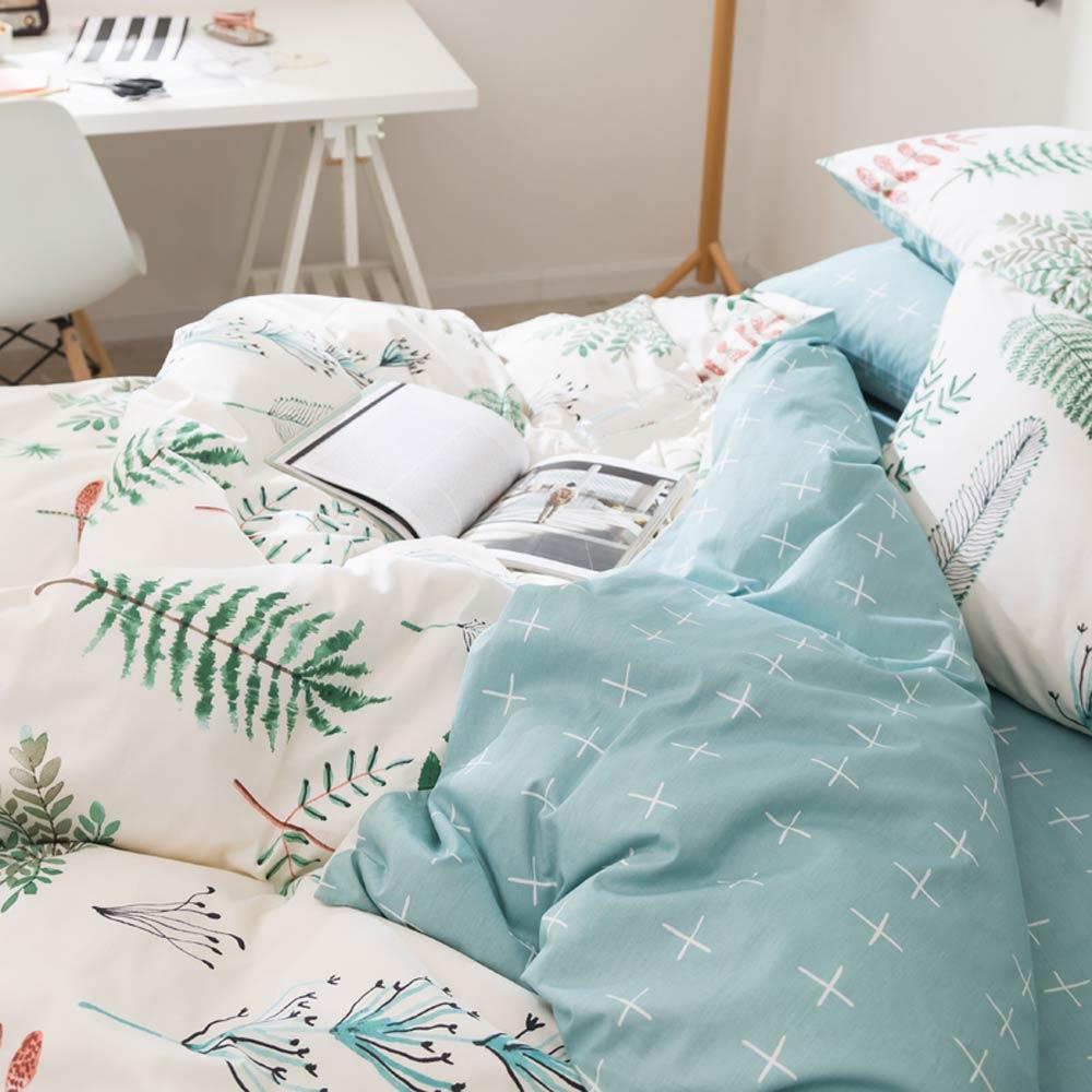 Image 4 - Svetanya Leaves Print Sheet Pillowcase and Duvet Cover Cotton  Bedlinen Twin Double Queen King Size Bedding Setking size bedding  setduvet cover setbedding set