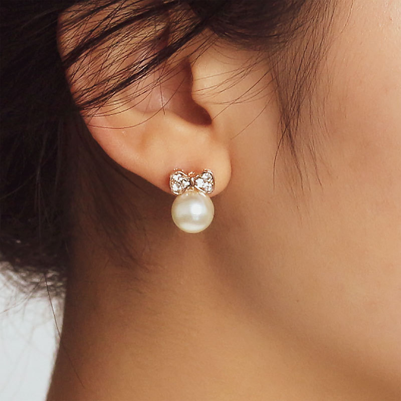 Korean Crystal Pearl Stud Earrings For Women Simple Bow Small Earring Fashion Ear Jewelry Wedding Gift Mujer Boucle D'oreille(China)
