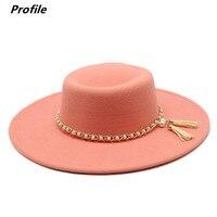 פדורה כובע פרל שרשרת סדרת סתיו וחורף טבעת שטוח למעלה אופנה גברים ונשים הרגיש ג 'אז כובע פדורה шляпа женская