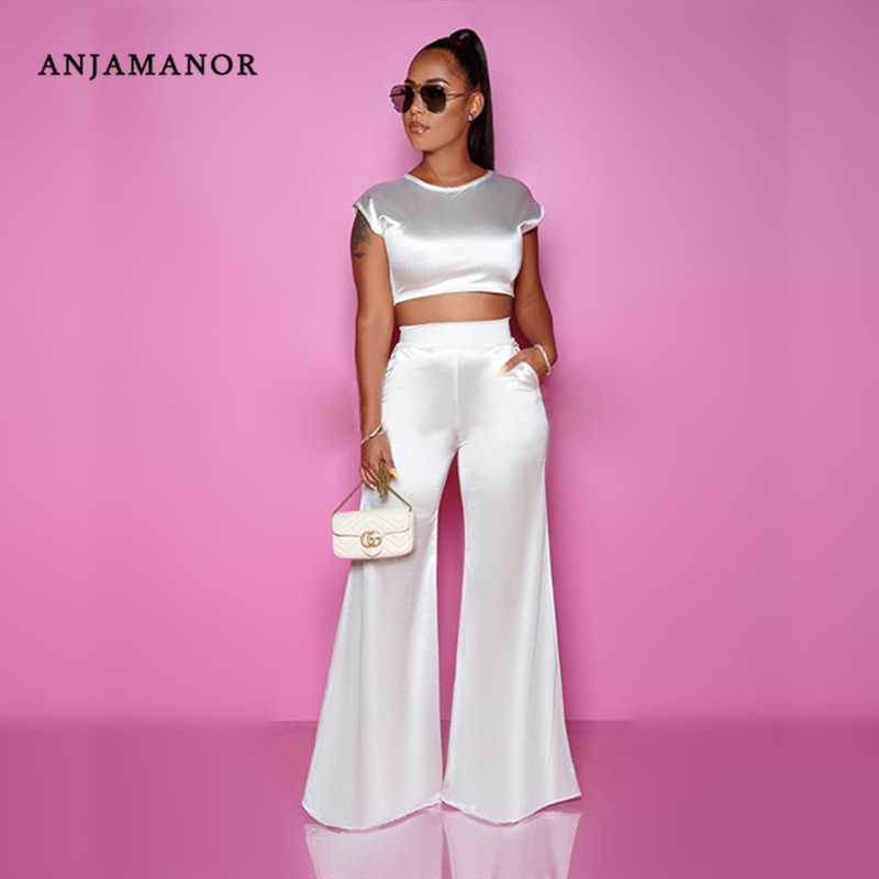 ANJAMANOR Satin Silk Two Piece Set Top and Wide Leg Pants Elegant Sexy 2 Piece Birthday Party Club Outfits Matching Sets D37AD88