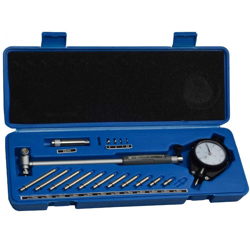 Dial Bore Gauge Set Stainless Steel 0.001mm Accuracy Inner Diameter Measuring Tool 50-160mm