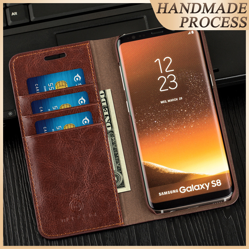 Musubo Business Luxury Case för S10e + S8 Flip Fodral i äkta läder Cover för Samsung Galaxy Note 10 9 8 Plånbok S9 Plus S7 Edge