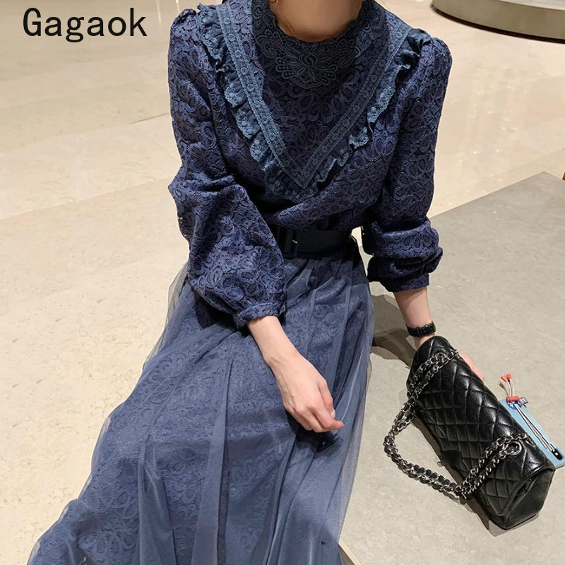 Gagaok Court Style femmes robe 2021 printemps automne nouveau solide Vintage dentelle Midi mode robes coréen Chic élégant sauvage Vestidos