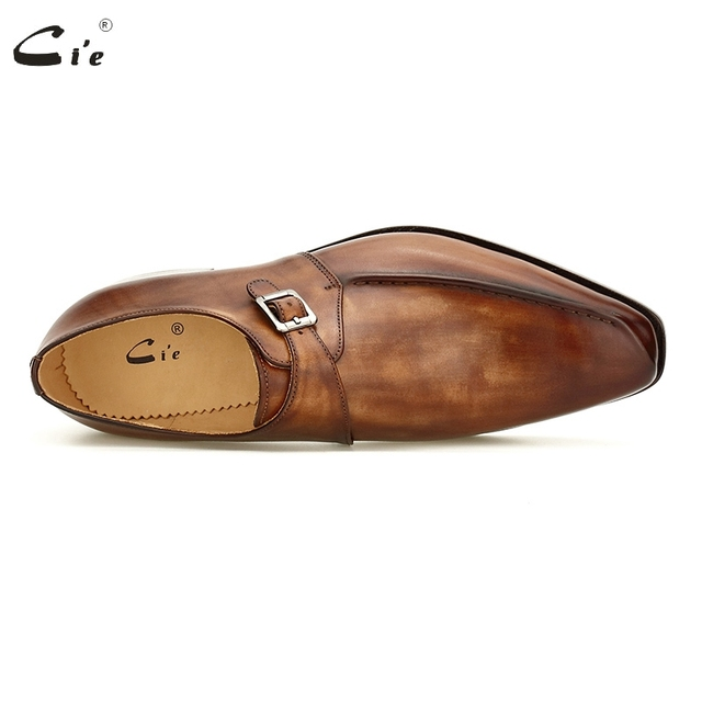 cie Blake Men Office Dress Shoes Formal Leather Elegant Social Business Leather Sole Monk Straps Dark Brown Leather Shoes MS188