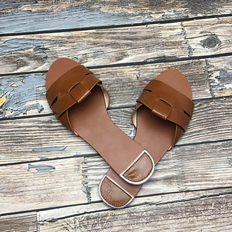 Woman Slippers Women's Casual Slip On Shoes Ladies Solid Outdoor Flats Summer Women Fashion Comfortable Beach Slides Plus Size