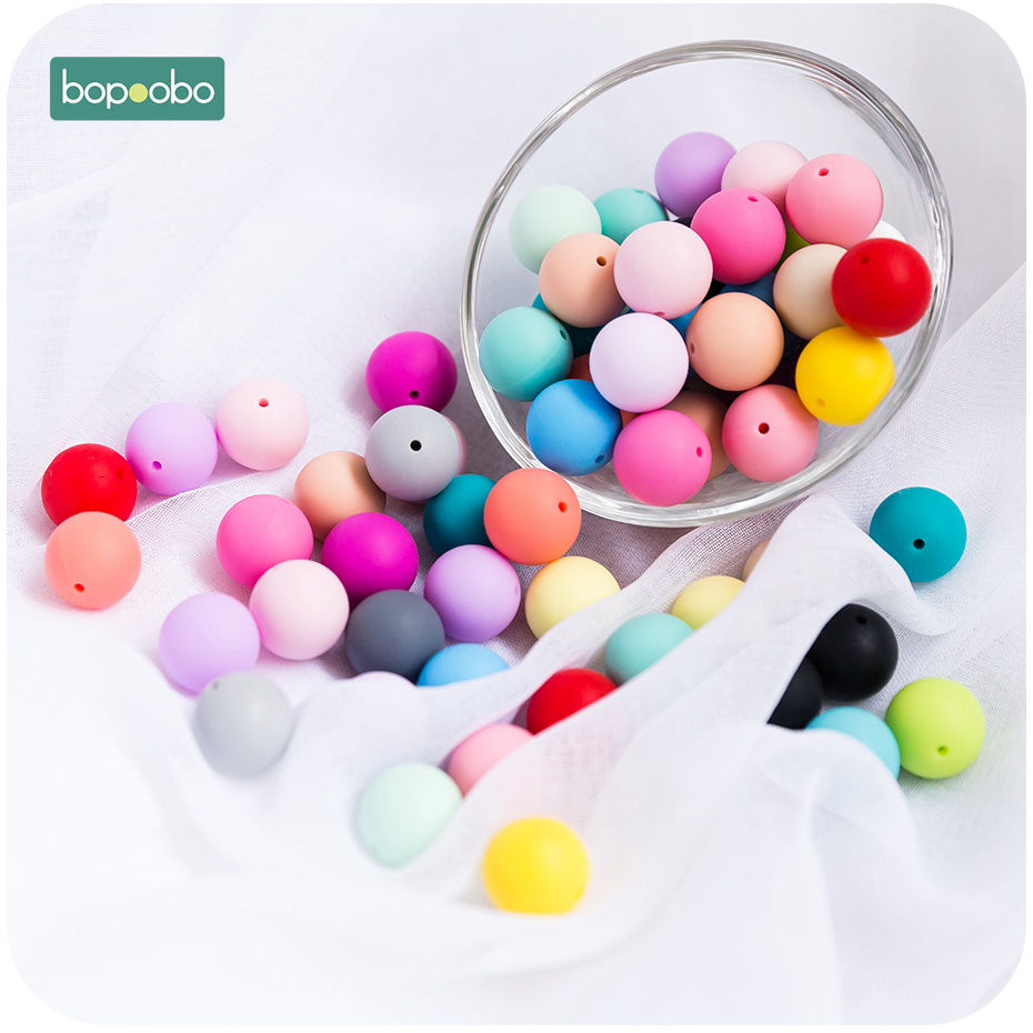 Bopoobo 15mm 500pc Food Grade Silicone Beads Baby Teething  Chewable Products BPA Free Diy Nursing Pendant Beads Baby Teethers