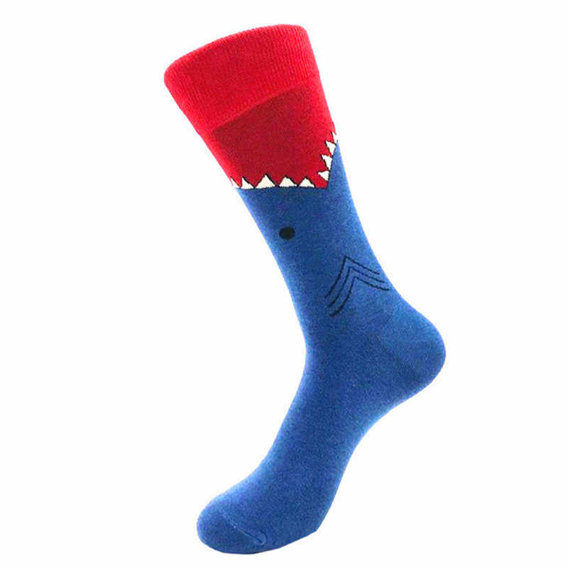 1 paar Hohe Qualität Männer Socken Gekämmte Baumwolle Cartoon Tier Vogel Shark Zebra Wassermelone Meer Lebensmittel Geometrische Neuheit Lustige socken