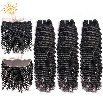 Sunlight Human Hair Brazilian Deep Wave Bundles With Frontal Closure Ear to Ear Lace Frontal With 3 Bundles Human Hair Non-remy - DISCOUNT ITEM  56% OFF All Category