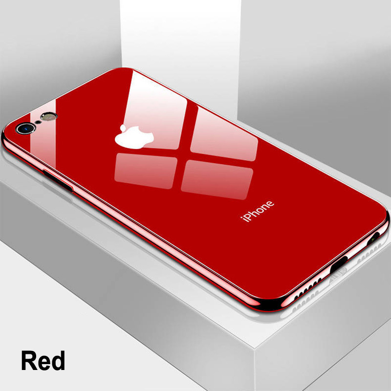 Luxury Tempered Glass Phone <font><b>Case</b></font> For <font><b>iPhone</b></font> 11 Pro XS Max XR X 8 7 6 s <font><b>6s</b></font> <font><b>Plus</b></font> 10 Black Gold <font><b>Red</b></font> White Cover Carcasa Coque Funda image