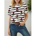 2021 New Casual Loose Women Short Sleeve O-Neck Sweet Flowers Animal Pullovers Female Summer Sexy Printed Cartoon Tops
