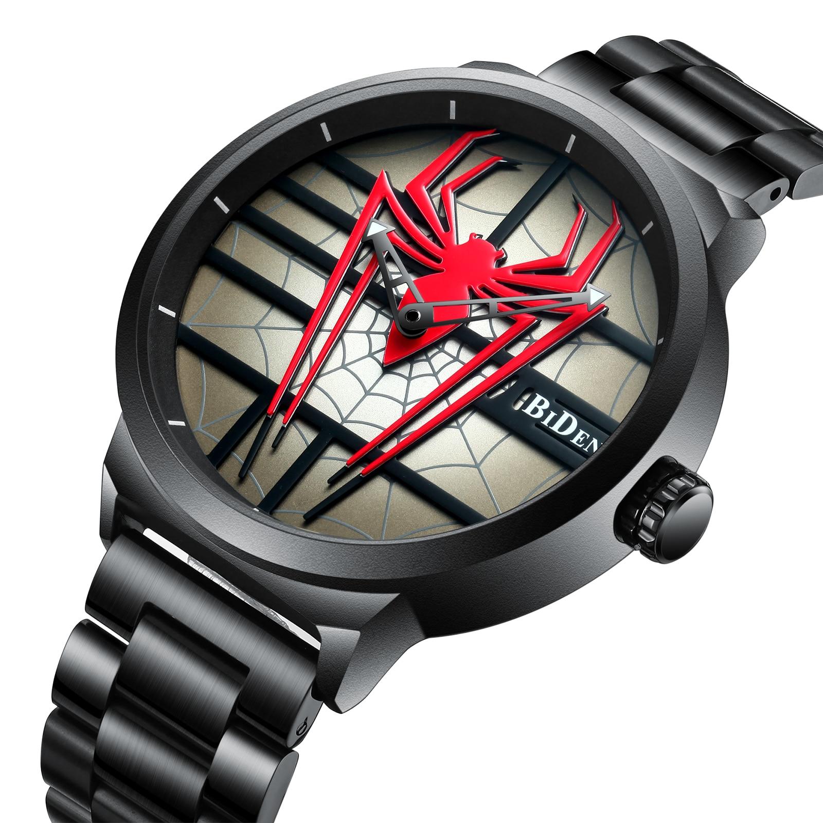 BIDEN Fashion Men Watch 2019 Waterproof Black Stainless Steel Band Unique Spider Dial Male Quartz Sports Wristwatch Casual Clock