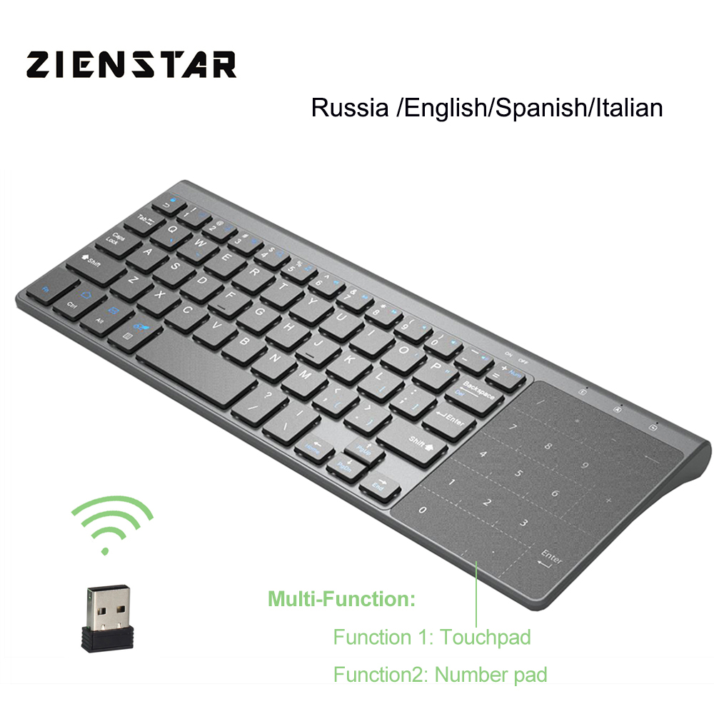 Zienstar 2.4G Wireless Mini Keyboard with Touchpad and Numpad for Windows PC,Laptop,Ios pad,Smart TV,HTPC IPTV,Android Box image