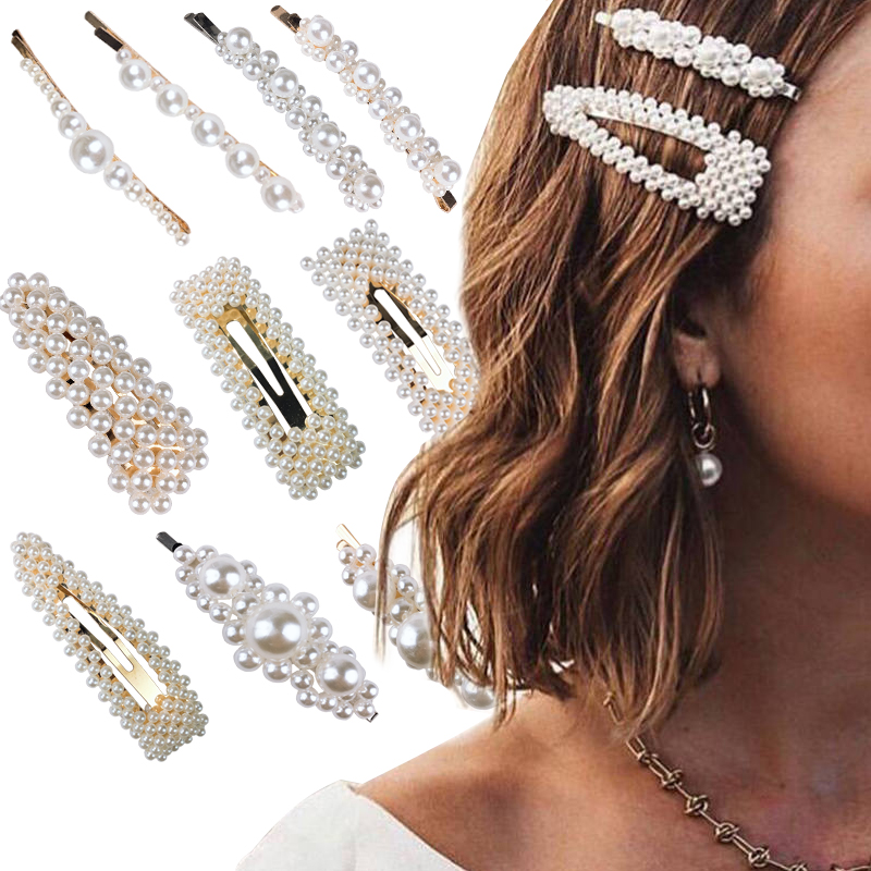1PCS Sweet Pearl Big Hairpins Hair Accessories Hair Clip For Women Girl Fashion Barrette 2019 Handmade Styling Accessories