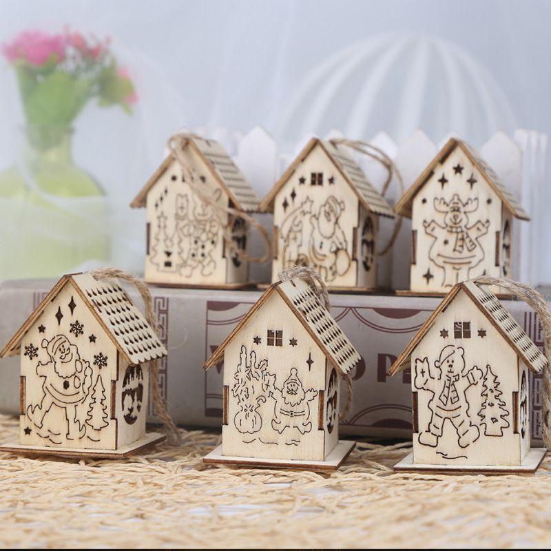 Светодиодный деревянный дом, украшение для семейного сада, рождественской вечеринки, свадьбы, праздника, вечеринки, елки - 4