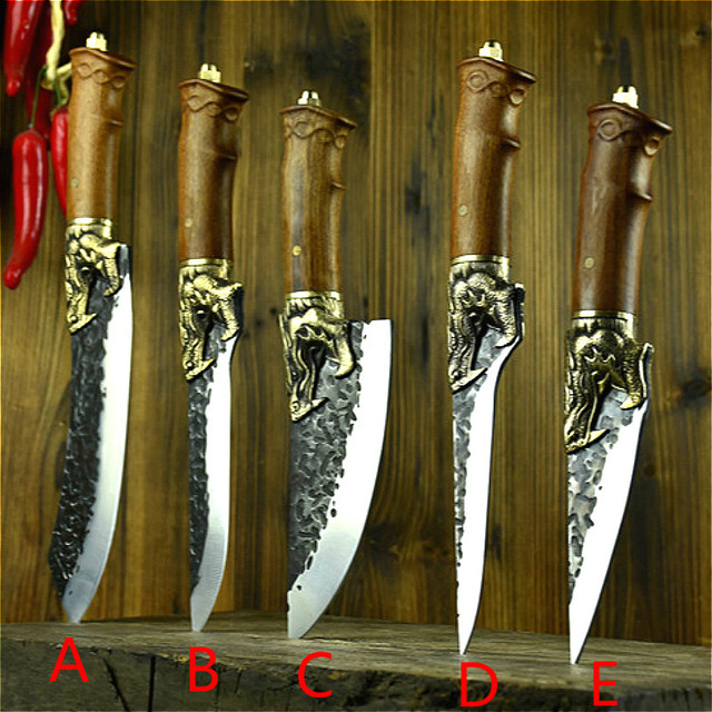 Longquan handmade beat sharp kitchen knife household kitchen set of 6 knives boning slicer butcher knife meat stand knife 2