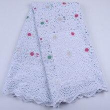Белая африканская хлопчатобумажная кружевная ткань драгоценные камни высокого качества швейцарская вуаль кружево хлопок нигерийское сухое кружево для свадьбы A1677
