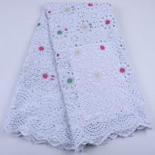 Trắng Bông Châu Phi Phối Ren Cao cấp Đá Thụy Sĩ Voan Ren Cotton Phối Ren Nigeria Khô Vải Ren Cho Đám Cưới A1677