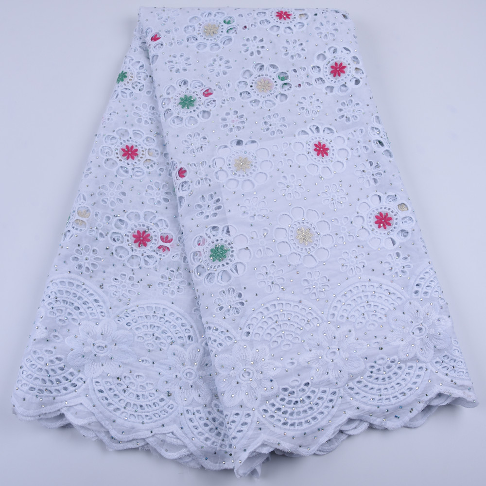 White African Cotton Lace Fabric High Quality Stones Swiss Voile  Lace Cotton Lace Nigerian Dry Lace Fabric For Wedding A1679Lace   -