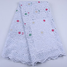 White African Cotton Lace Fabric High Quality Stones Swiss Voile Lace Cotton Lace Nigerian Dry Lace Fabric For Wedding A1679