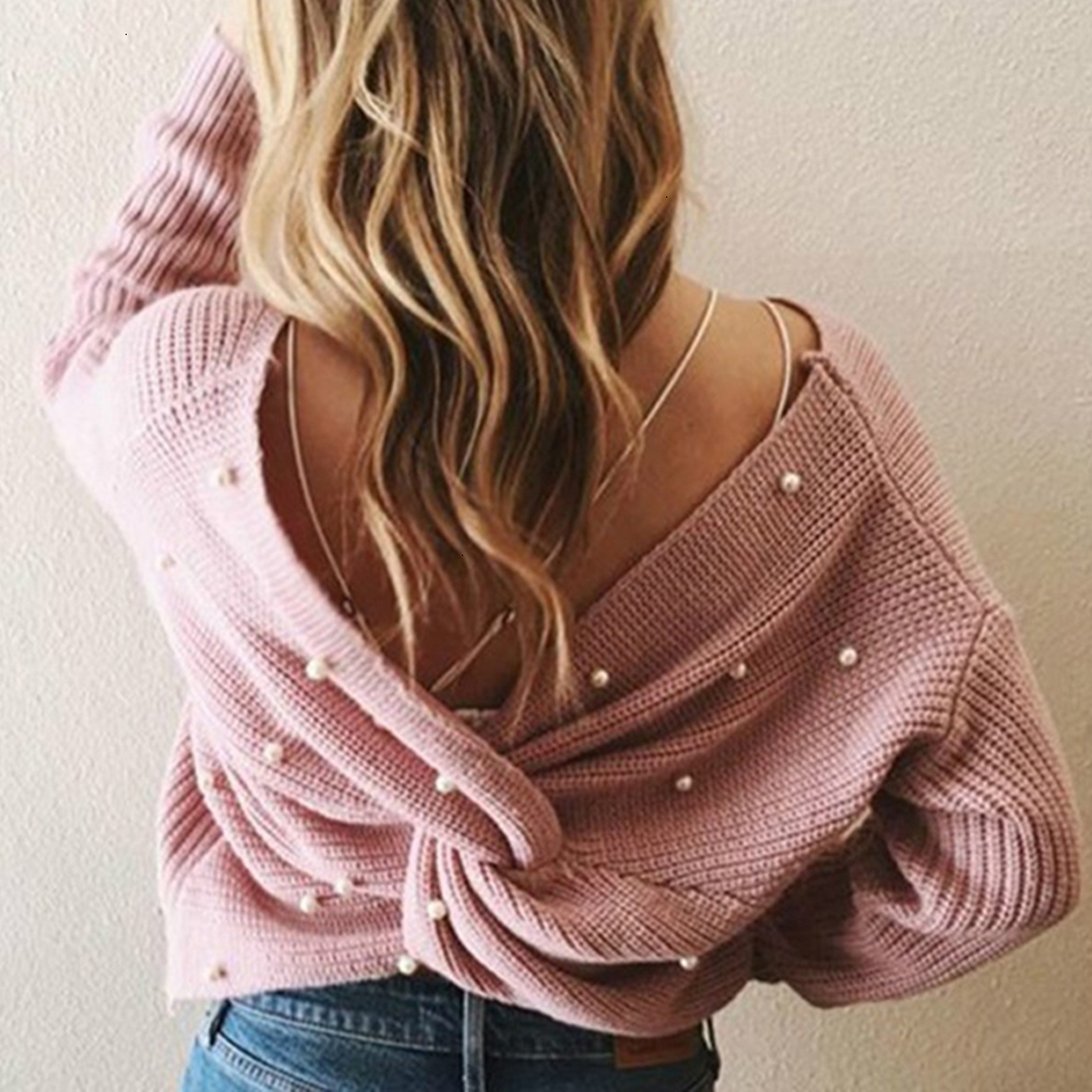 Sexy Criss Cross Backless V Neck Knitted Women Sweater Batwing Sleeve 2019 Autumn Winter Casual Loose Pullover Jumper