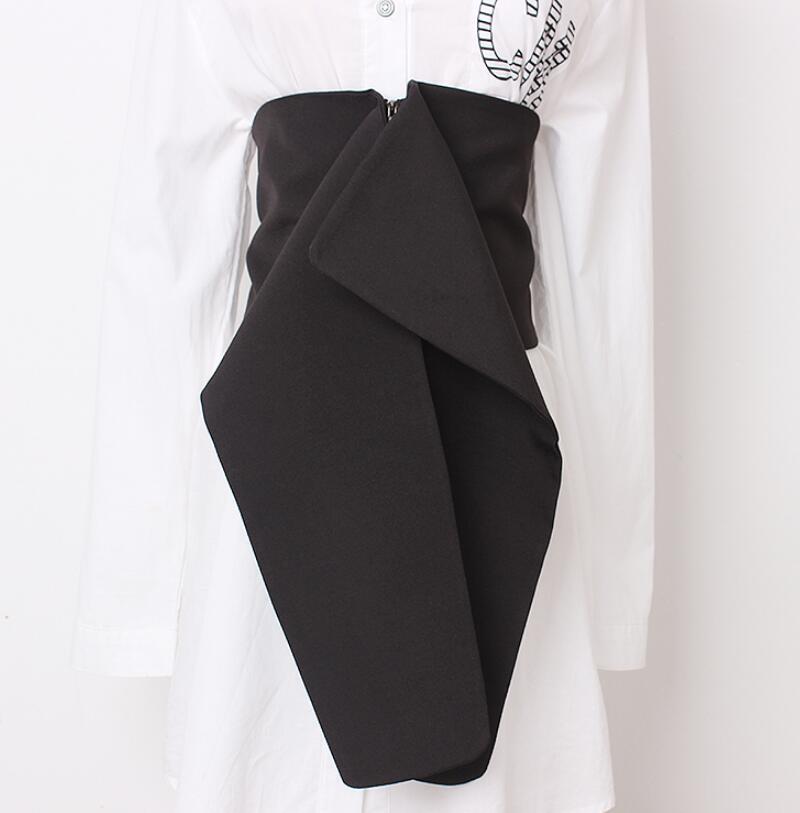 Women's Runway Fashion Black Fabric Cummerbunds Female Dress Corsets Waistband Belts Decoration Wide Belt R1993