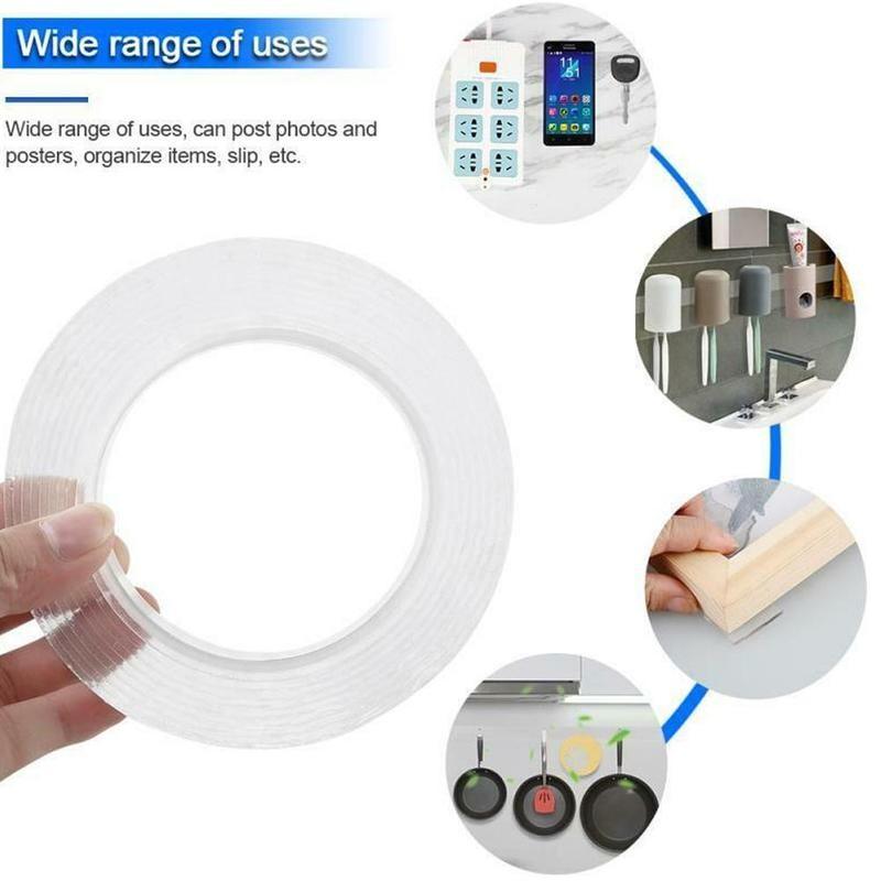 5m não-marcação nano fita dupla face fita lavável reutilização impermeável nenhum traço mágico claro adesivo nano fita transparente