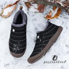 Zimowe męskie buty ciepłe pluszowe dorywczo niskie buty płaskie buty męskie wodoodporne Slip on Plus aksamitne buty śniegowce męskie dorośli Unisex Big Size 48 tanie tanio ENLEN BENNA Podstawowe CN (pochodzenie) Mesh (air mesh) ANKLE Stałe Krótki pluszowe Okrągły nosek RUBBER Zima Mieszkanie (≤1cm)
