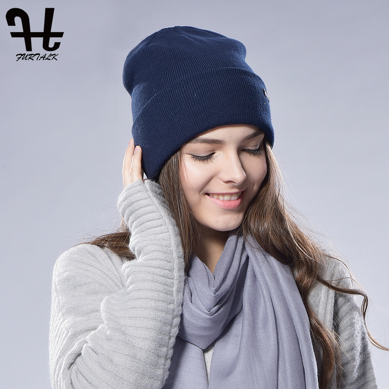 FURTALK Beanie Hat For Women Winter Cotton Wool Knitted Skullies Hat Spring Watch Cap For Female Men Couples Stocking Hats 2019