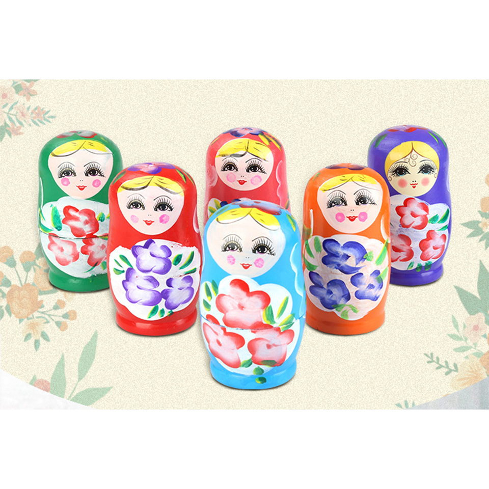 5pcs Russian Matryoshka Dolls Basswood Creative Nesting Dolls Gift Russian Traditional Feature Ethnic Style Unisex DIY Dolls