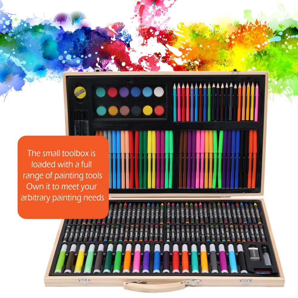 150/180 Pcs Kids Art Set Children Drawing WaterColor Pen Crayon Oil Pastel Painting Art Supplies Stationery Kit For Student Gift