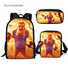 ELVISWORDS Childrens School Backpack Hello Neighbor Print Pattern Book Bags Cartoon Little Animal 3PCs Set Students