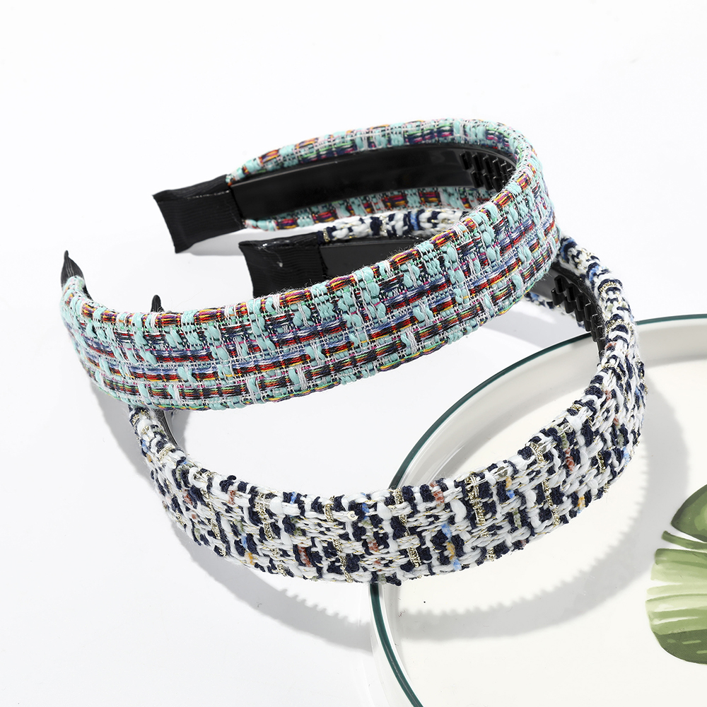 Haimeikang Women Plaid Hairband Braid Headband Headwear Fashion New Bezel Head Hoop Headdress Fabric Weaving Hair Accessories