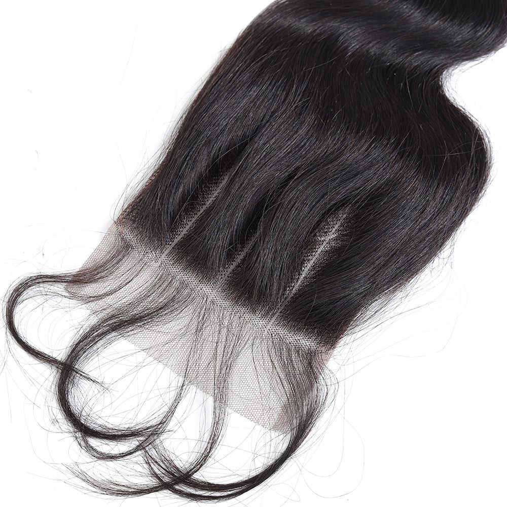 Productos para el cabello Queen extensiones de cabello humano brasileño ondulado con cierre de encaje con cabello de bebé 100% extensiones de cabello Remy de tres partes