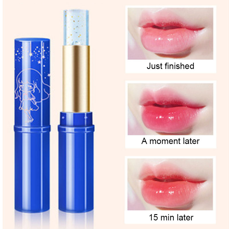 1Pcs Lip Balm Moisturizing Hydrating Nourish Temperature Color Change Long-Lasting Lipstick Gold Foil Peach Lip Care Makeup Tool
