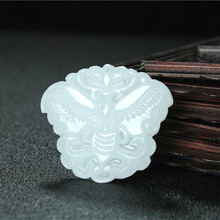 Butterfly Natural White Jade Pendant Necklace Chinese Hand-Carved Charm Jewelry Fashion Accessories Amulet for Men Women Gifts 1pc fashion chinese green jade cross pendant necklace hand carved charm jadeite natural jewelry amulet for men women gifts white