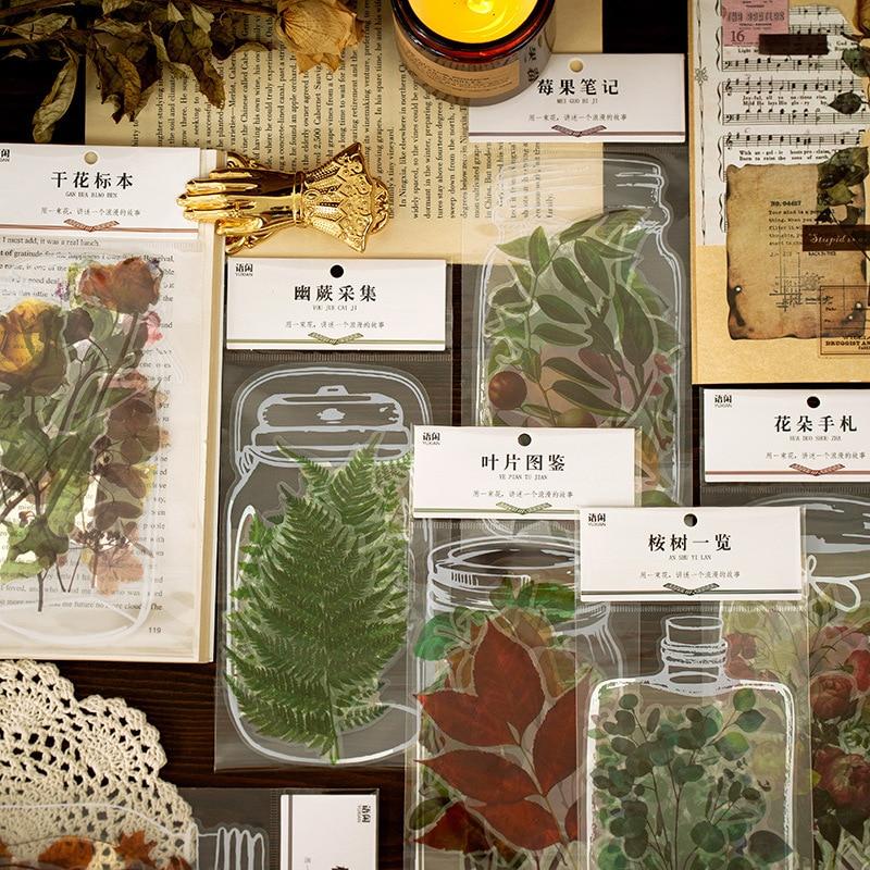 11 листов/пакет природа наклейка для коллекции комплект травы листьев растений цветочные фруктовые клей декоративные этикетки для Скрапбук...