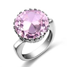 Szjinao Real 925 Sterling Silver Ring Natural Pink Crystal Gemstones Cute Round Fine Jewell