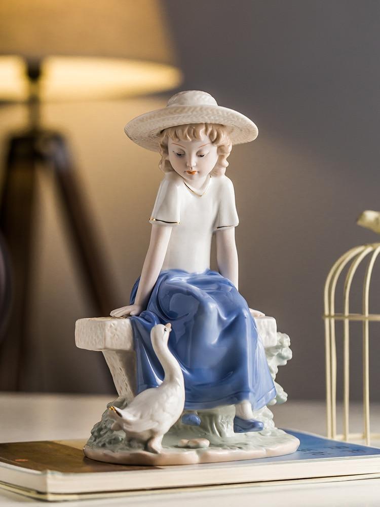 Facing Swan Girly Ceramic Character Sculpture